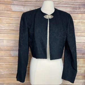 VTG Christian Dior Lace Crop Rhinestone Jacket, 10